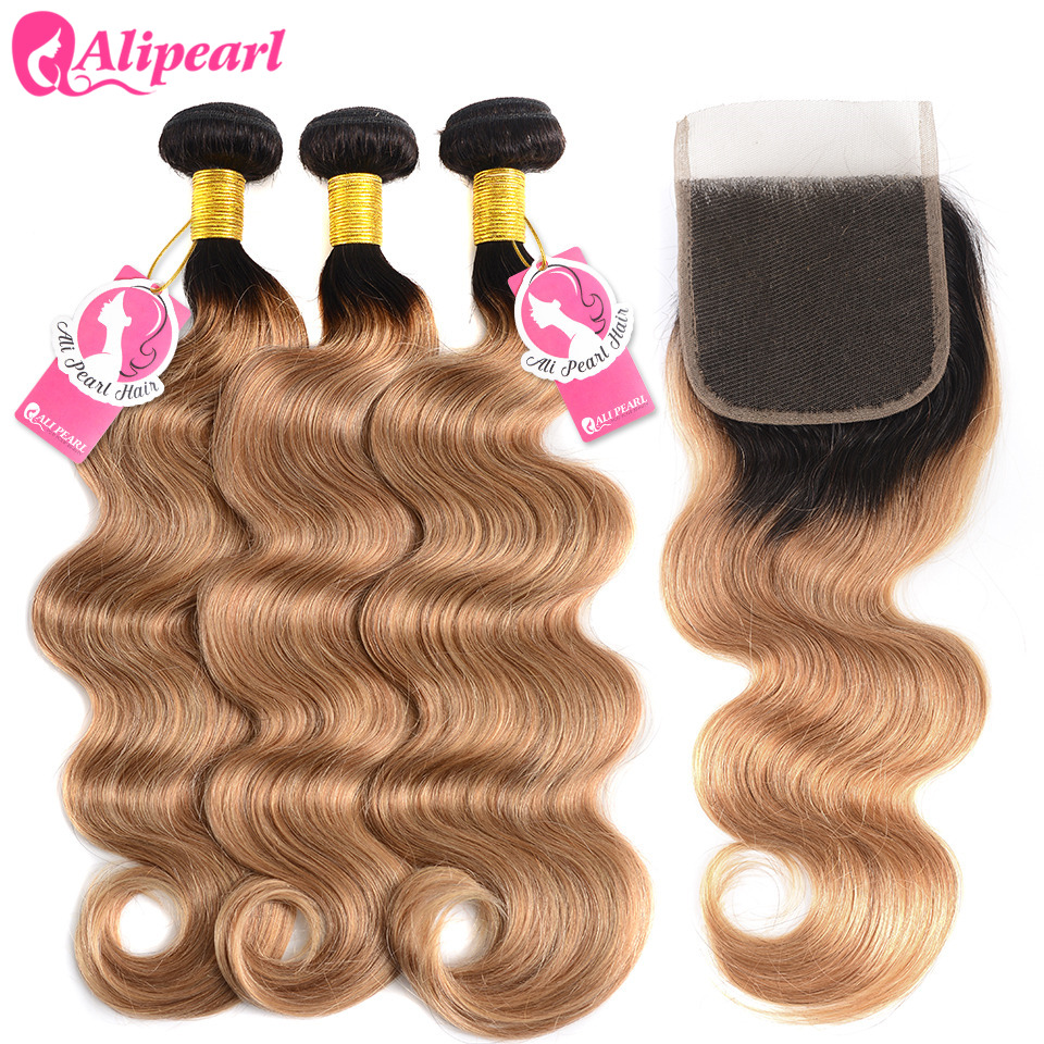 AliPearl Hair 1b/27 Brazilian Body Wave Ombre Hair 3 Bundles Human Hair Bundles With Closure 10-24 Inch Remy Hair Extensions