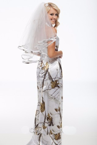 Halter White Camo Camouflage Wedding Dress With Veil Bridal Gowns ...