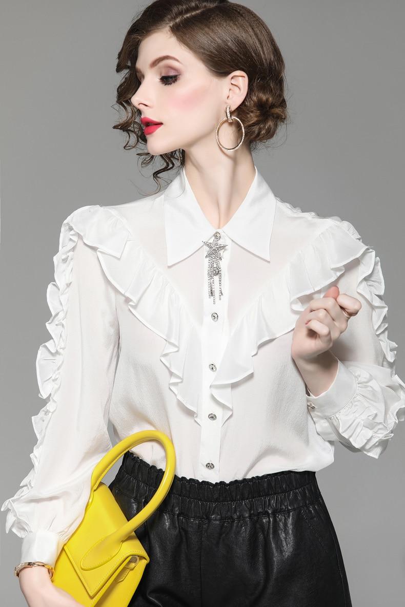 568f48c7a Pasarela Manga Mujer Cuello Moda Casual Negro Volantes De Camisas 2019 100  Seda Larga blanco Blusa ...