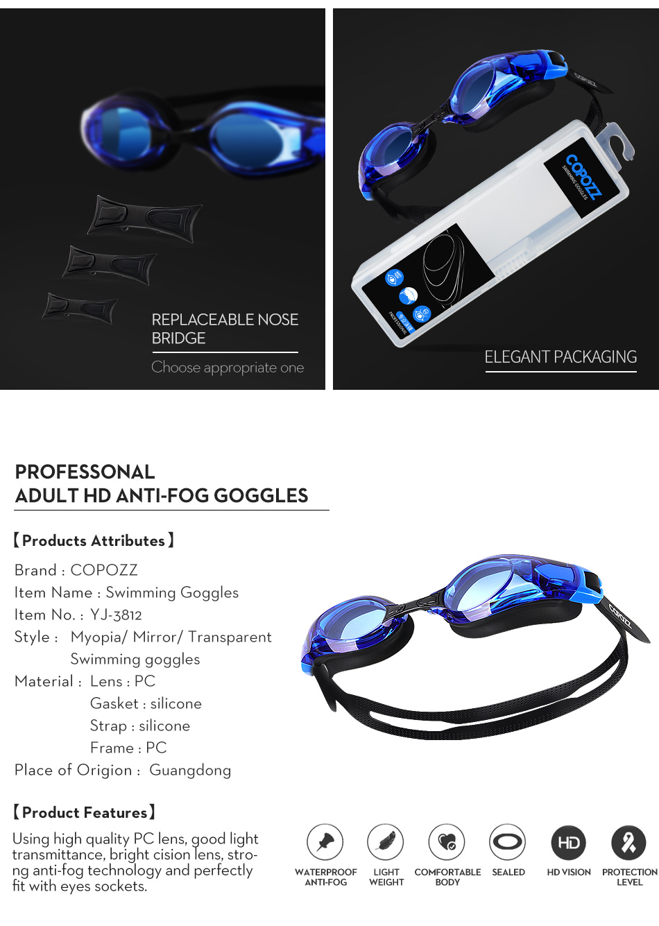 COPOZZ Myopia Pro Diopter Swimming Goggles 0 -1.5 to -8 With Double Anti Fog UV Protection 14