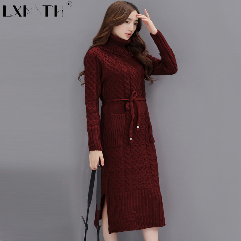 Turtleneck Long Knitted Dresses Straight Autumn Dress Pockets  Sashes Knit Dresses Sweater Belt Sweaters Dresses Casual Women L