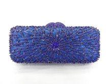8271-BLUE кристалл цветок цветочный леди свадебные ну вечеринку полые металл вечернее портмоне сцепление мешок сумочка