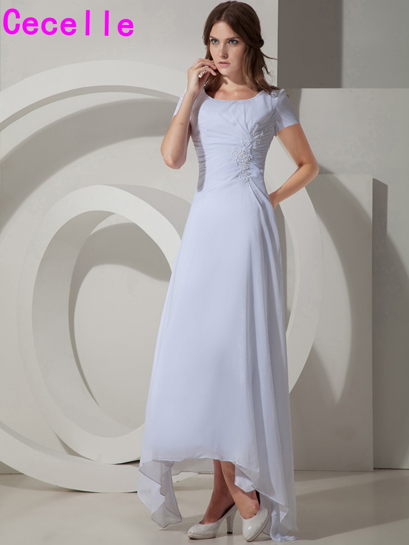 White Long High Low A-line Chiffon Modest Bridesmaid Dresses Gowns ...