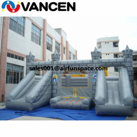 0.55mm PVC tarpaulin bouncy castle inflatable water slide commercial double slide inflatable castle combo for park for rental