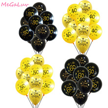 20pcs Gold Black 12inch 30th 40th 50th 60th Birthday Party Decorations Ballons Adult Decors 30 Ans Baloons