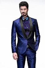 Costume Homme 2016 Custom Made Handmade Royal Blue Slim Fits Suits Tuxedo Wedding Suits for Men Groom Suits Formal Party Suits