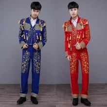 New Fashion Men s Dance DJ Stage Wear Slim Suits Set Jacket pants nightclub singer Costume
