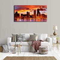 Chicago Skyline Sunset Wall Art Painting Red American Cityscape Contemporary Picture for Home Office Wall Decor Landscape Prints