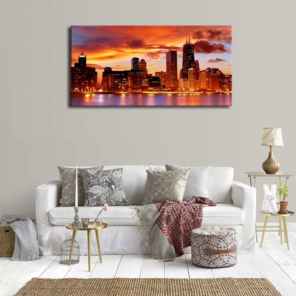 Chicago Home Decor Stores: Chicago Skyline Sunset Wall Art Painting Red American