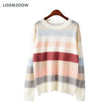Купить с кэшбэком 2018 Spring Womens Tops and Blouses Striped Color Block Top Women O-Neck Mohair Sweater Blouse Women Ladies Knitwear Clothes