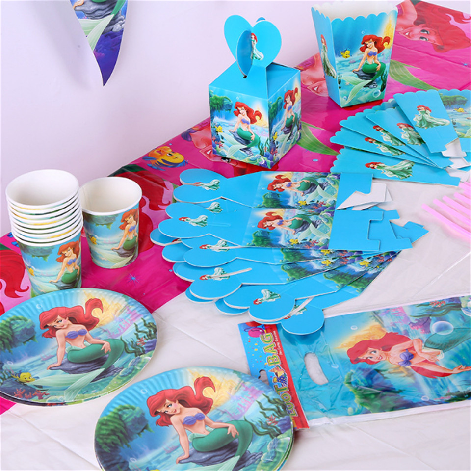 1 set Mermaid Photo Props candy bag cup ,popcorn box ,straw ,banner Theme Party Decor Baby Shower Summer Pool Party Supplies
