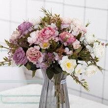 Decoración de fiesta de peonía DIY, flores artificiales de seda clásica, rosas pequeñas, flores sintéticas para boda, suministros para Festival, ramo de decoración para el hogar