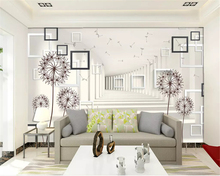 beibehang Simple fashion decorative painting wallpaper three-dimensional box space dandelion background wall papers home decor