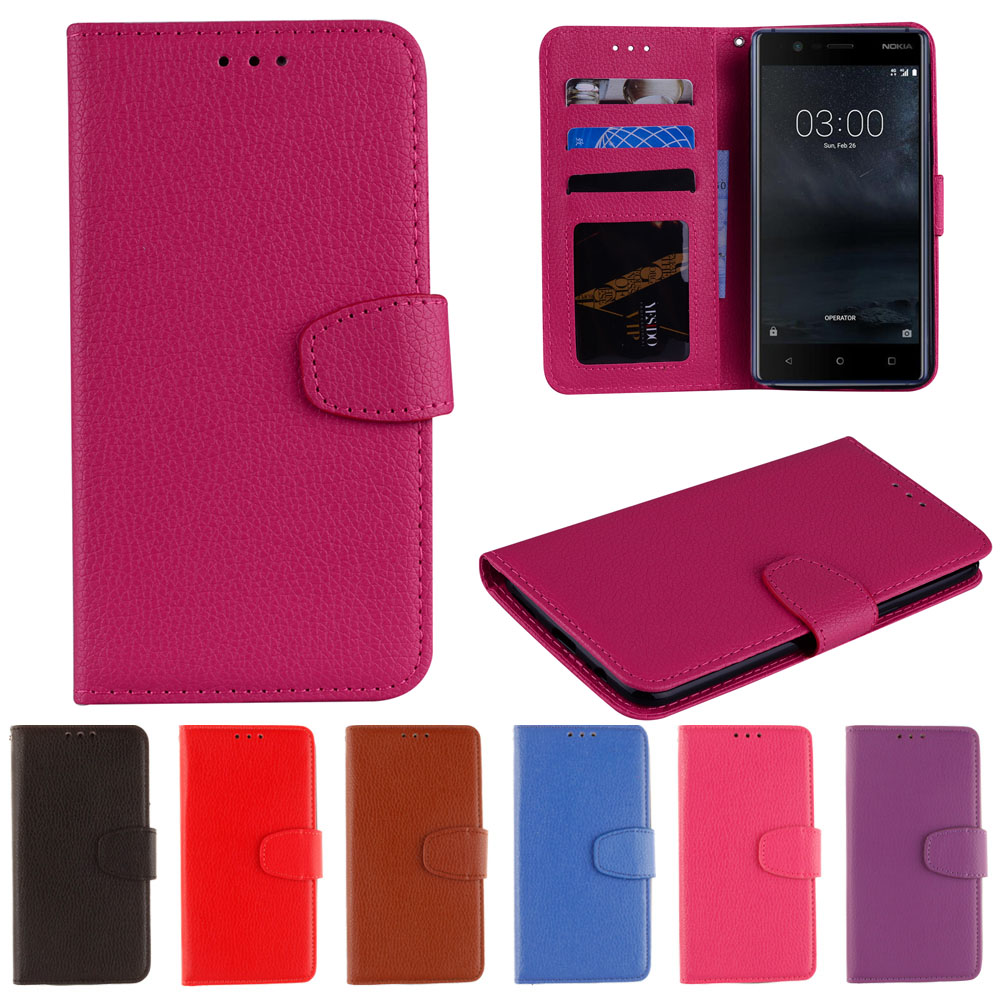 Flip Case for Nokia5 TA-<font><b>1053</b></font> TA-1024 Case Phone Leather Cover for <font><b>Nokia</b></font> 5 Global Dual TA <font><b>1053</b></font> Pure color Wallet Silicone Cases image