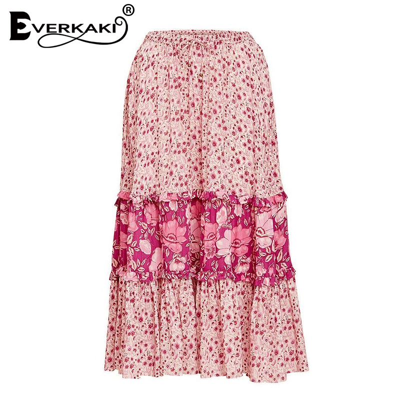 Everkaki Women Boho Floral Print Patchwork Long Skirts Adjustable Waist Tied Pink Bohemian Skirt Female 2018 Spring Summer New