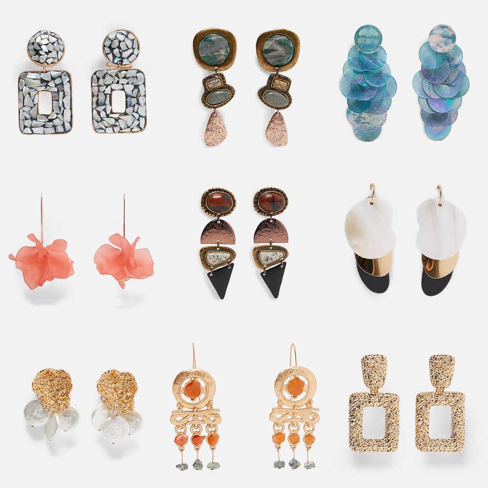 99e340d39 Best lady New Geometric Za Drop Long Earrings for Women Brand Designs  Handmade Bohemian Wedding Dangle