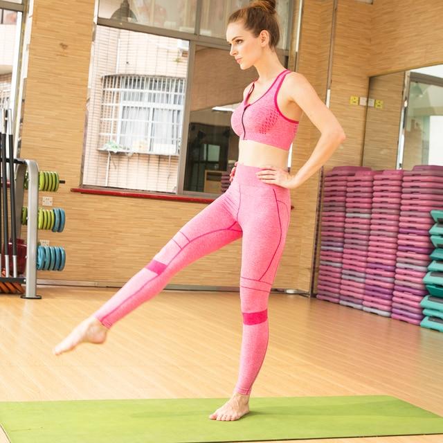 NEWprofessional одежда Для женщин, Йога бюстгальтеры и брюки наборы Стрейч Жилет упругие талии брюки леди танцы работает Фитнес-спортивной костюм