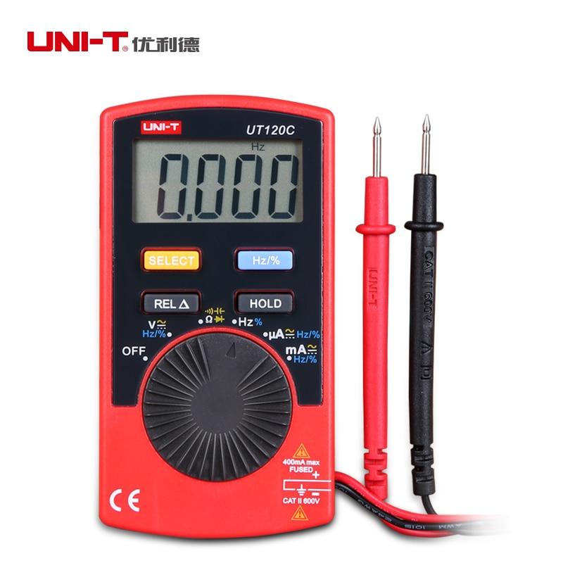 UNI-T UT120C Portable Digital Multimeter Auto Range LCD AC/DC Voltage Current Meter Capacitance Resistance Tester mini multimeter holdpeak hp 36c ad dc manual range digital multimeter meter portable digital multimeter