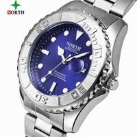 NORTH Watch Men Fashion Sport Quartz Clock Mens Watches Top Brand Luxury Steel Business 30M Waterproof