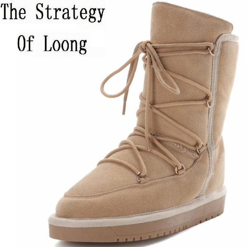 Full Grain Leather Plush Thick Warm Flat Lace Up Snow Lady Boots Leather With Fur Casual