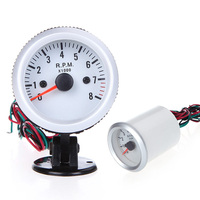 Tachometer Tach Gauge With Holder Cup For Auto Car 2 52mm 0 8000RPM Blue LED Light