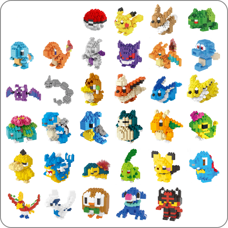 LNO Anime Pocket Monster Pikachu Blastoise Venusaur Charizard Gyarados Pokeball Mini Building Diamond DIY Nano Blocks Toy No Box(China)