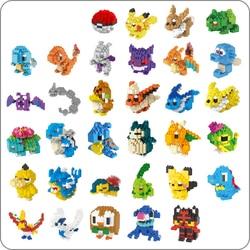 LNO Anime Pocket Monster Pikachu Blastoise Venusaur Charizard Gyarados Animal DIY Mini Building Diamond Small Blocks Toy no box