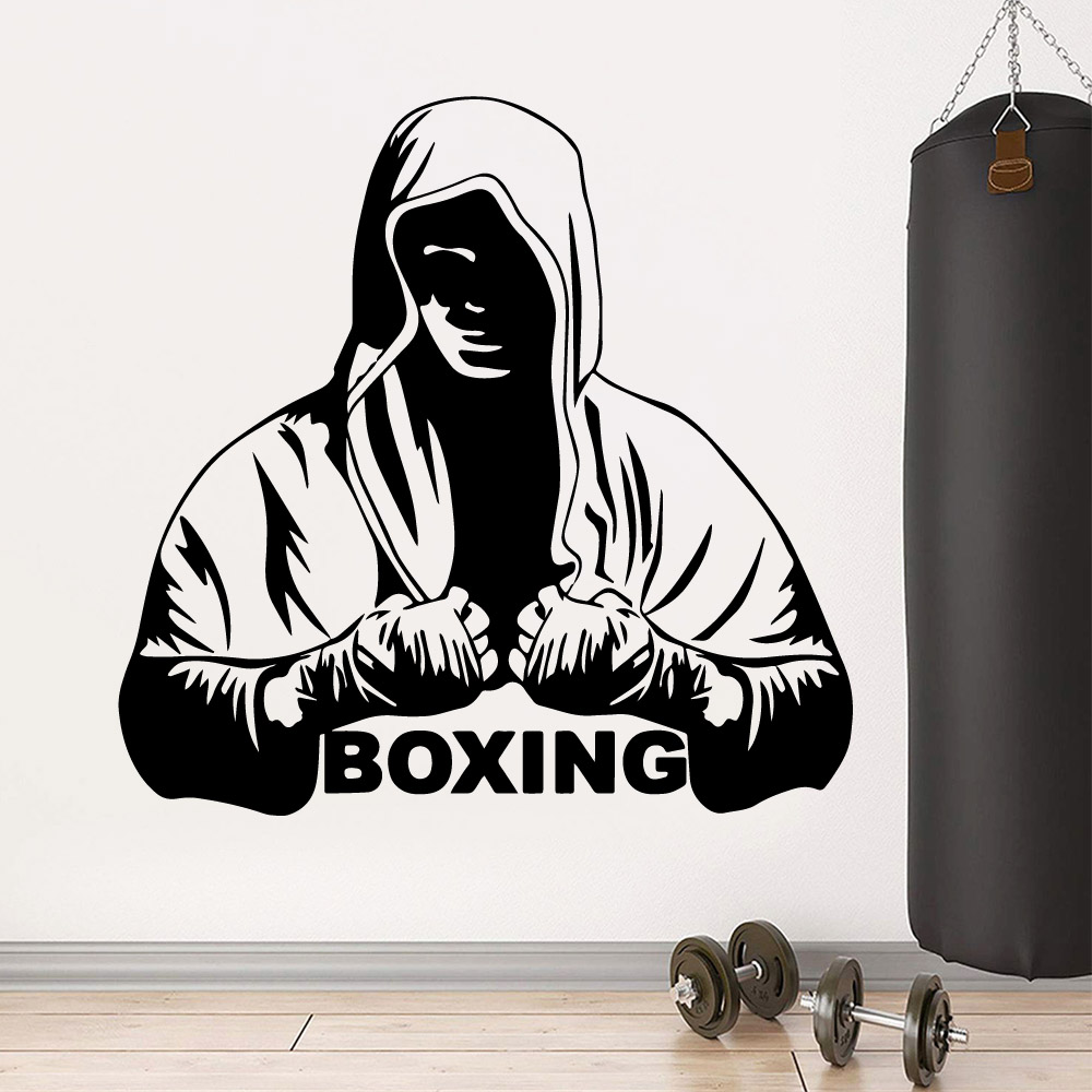 Fashion Custom boxing Wallpaper Vinyl Wall Sticker For Fitness Room Art Decals Gym Stickers Mural