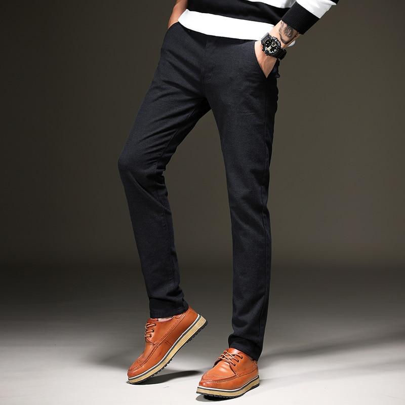 KAPK 2018 New Design Casual Men Pants Cotton Slim Pant Straight Trousers Fashion Business Solid Khaki Black Pants Men Plus