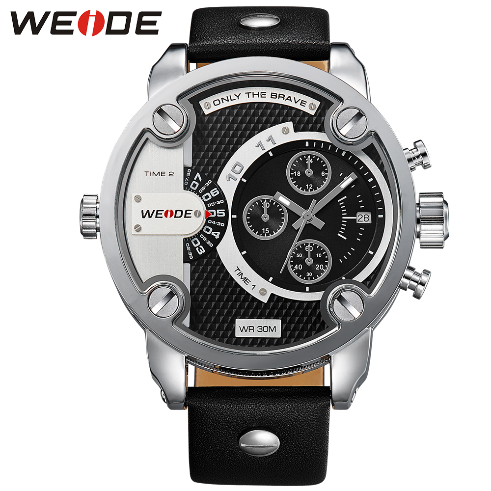 ФОТО Limited!WEIDE New Quartz Watch Men's Sports Over size Military Leather Watches Men Luxury Brand 30 Meters Water Resistant WH3301