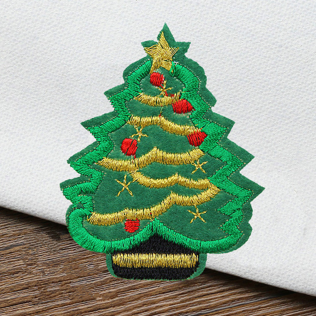 Christmas Shoes Diy.Us 9 99 10pcs Christmas Tree Embroidered Patch Christmas Festival Decor Clothes Sticker Jacket Shoes Bag Diy Applique In Patches From Home Garden