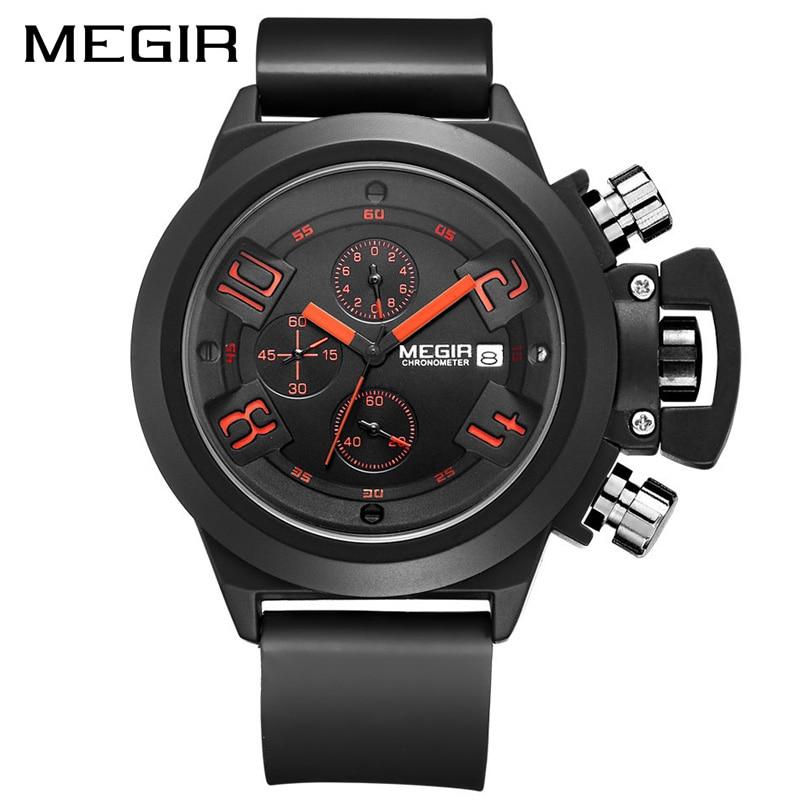MEGIR Creative montre de sport pour homme Top Marque De Luxe Armée montres militaires montres Chronographe montre à quartz Relogio Masculino