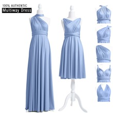 Dusty Blue Bridesmaid Dress Long Infinity Multi Way Wrap One Shoulder Floor Length Convertible Dresses