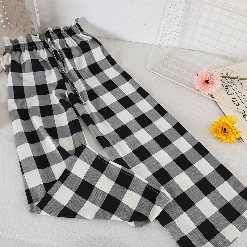 2019 Spring Fashion Women   Pants   Plaid Polka Dot   Wide     Leg     Pants   Summer Ankle Length   Pants   Female Casual Loose High Waist Trousers