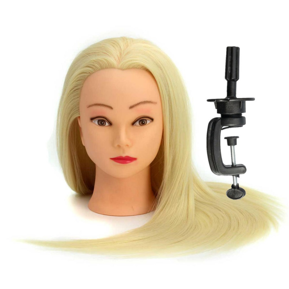 CAMMITEVER White Hair Mannequins Salon Hairdressing Hair Styling Training Head Mannequin 20'' With Holder Hairstyling Practice