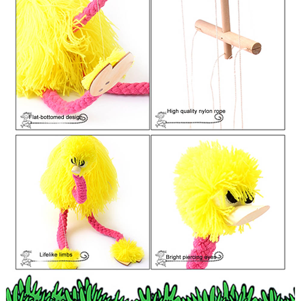 5Pcs/Set Pickup Puppet Pull Ostrich Christmas Funny Toy Pull String Stuffed Marionette Toy Joint Activity Doll Festival Gift