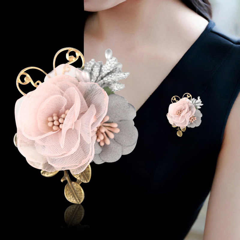 i-Remiel Korean Ribbon Fabric Brooch Corsage Flower for Women Cardigan  Shawl Pin Dress Pins 89623f8553