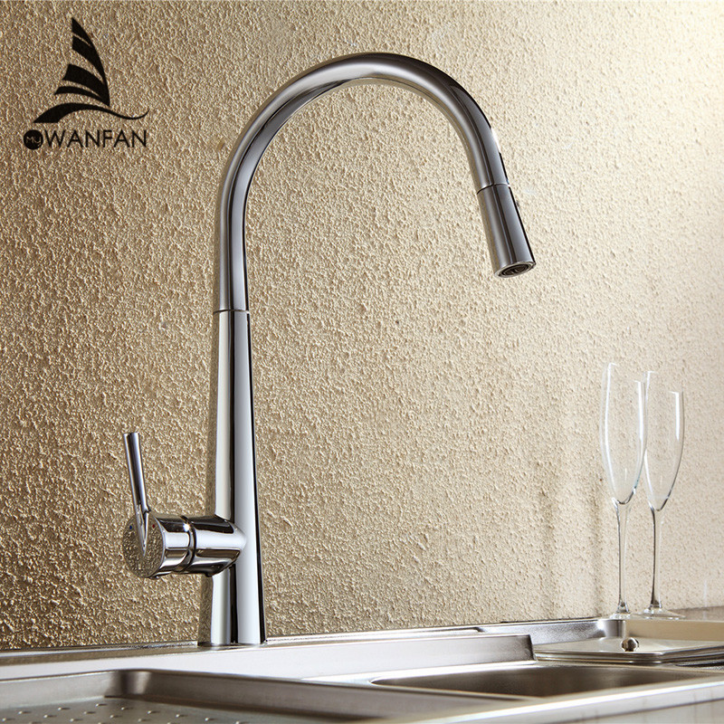WANFAN Modern Polished Chrome Brass Kitchen Sink Faucet Pull Out Single Handle Swivel Spout Vessel Sink Mixer Tap LK-9906 kitchen chrome plated brass faucet single handle pull out pull down sink mixer hot and cold tap modern design