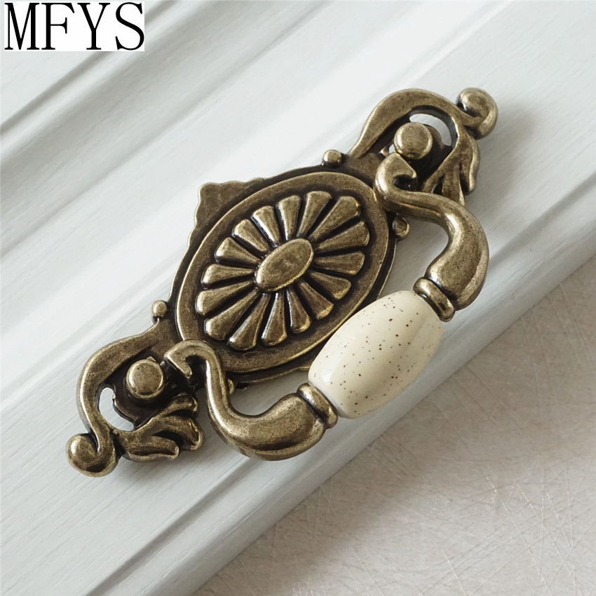 "Ceramic Kitchen Cabinet Handles Drawer Pull Knobs Antique: 2.25"" Drop Bail Dresser / Drawer Handles Pulls Knobs"