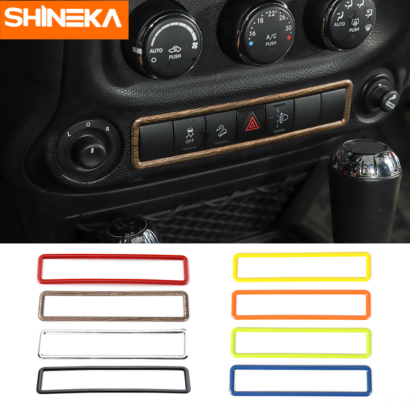 SHINEKA Car ABS Interior Emergency Light Button Frame Cover Decoration Stickers For Jeep Wrangler 2011-2016 Car Styling