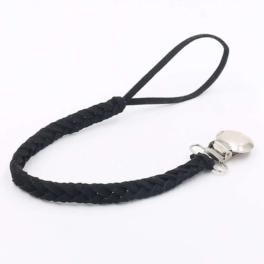 Pacifier Chain Solid Infant Long Soother Pacifier Holder Chain Baby Feeding Leather Braided Dummy Clip Home Anti-lost Outdoor