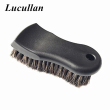 Lucullan More Dense Pure Black Premium Select Horse Hair Interior Cleaning Brush for Leather, Vinyl, Fabric