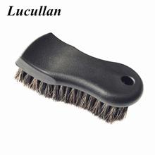 Lucullan bardziej gęsta czysta czerń Premium wybierz włosia końskiego szczotka do czyszczenia wnętrza skóry winylu tkaniny tanie tanio CN (pochodzenie) 15cm Pure Black handle+100 Horsehair Gąbki Tkaniny i szczotki 160g Car detailing cleaning washing 6 5cm