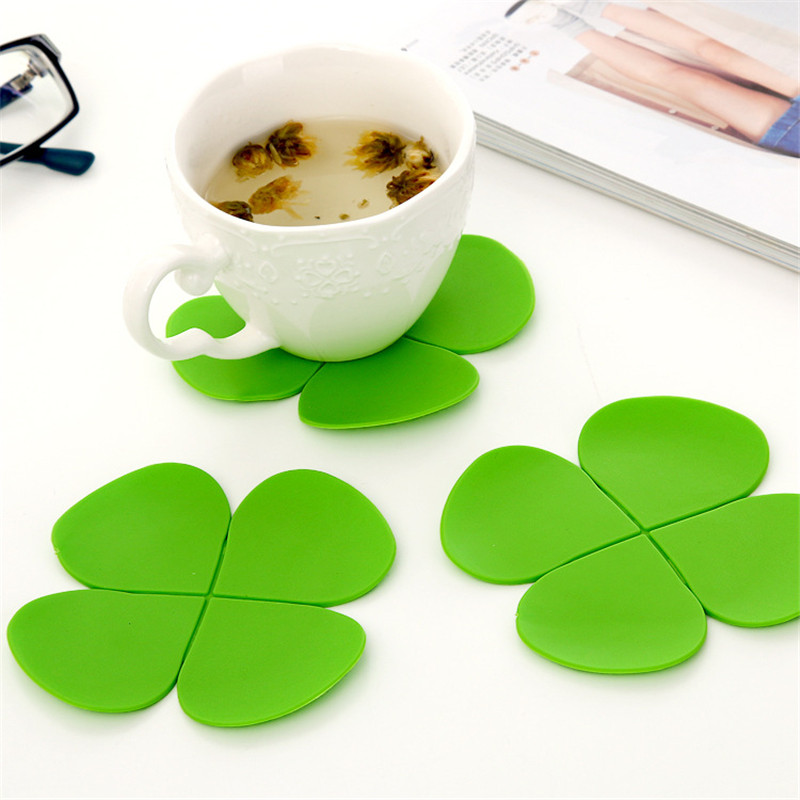 5pcs Lot Flower Petal Shape Cup Coaster Mixed Colors Tea Coffee Mat Table