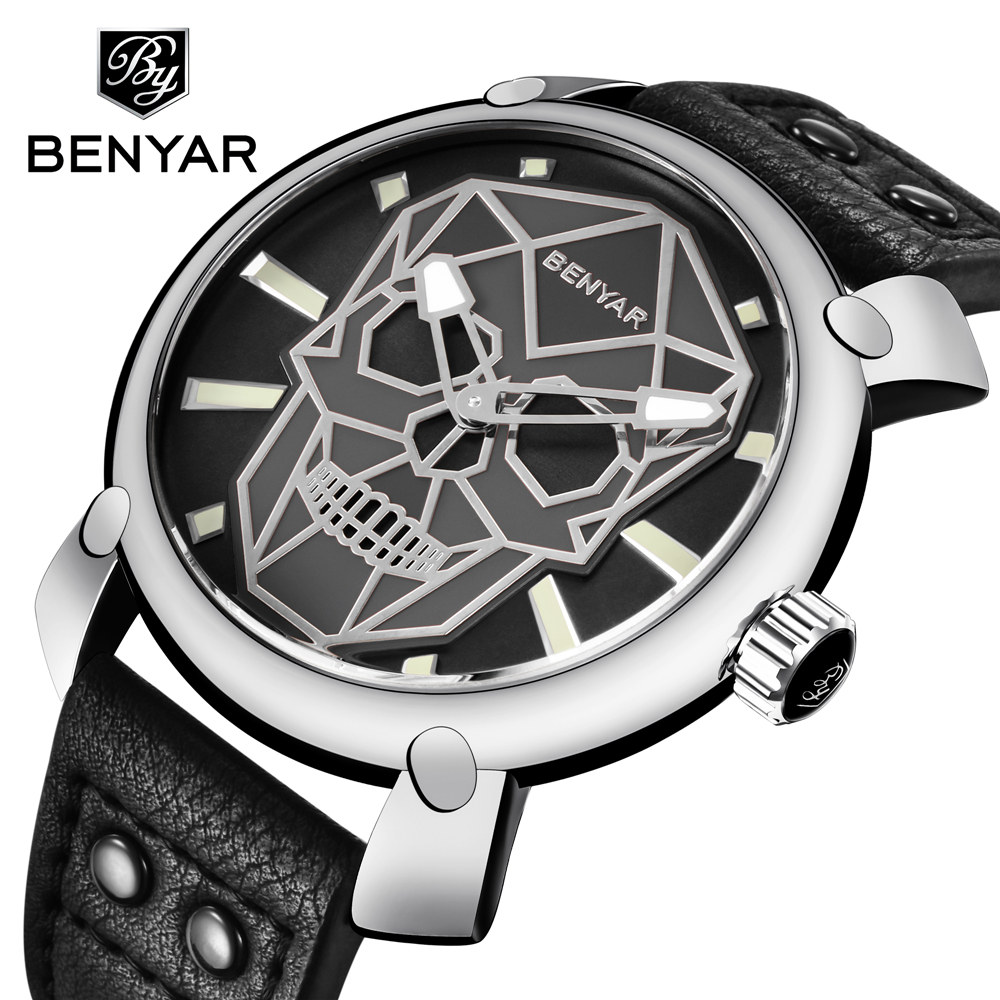 Relogio Masculino BENYAR Gold Skull Watch Mens Watches Top Brand Luxury Fashion Leather Quartz Wristwatch Clock Men Montre Homme montre homme guanqin watches men sport casual leather quartz watch mens luxury top brand waterproof wristwatch relogio masculino