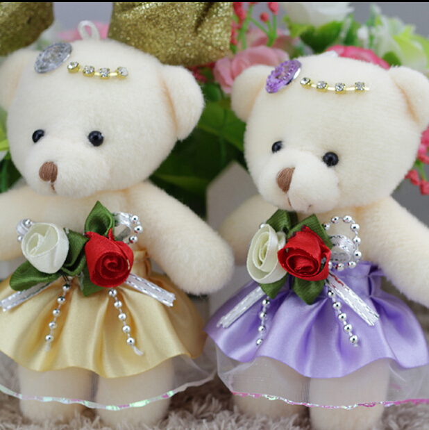 Wholesale 12cm Rose Teddy Cute Bear Wedding Gift Girl Birthday Present KIDs Toys Lovers