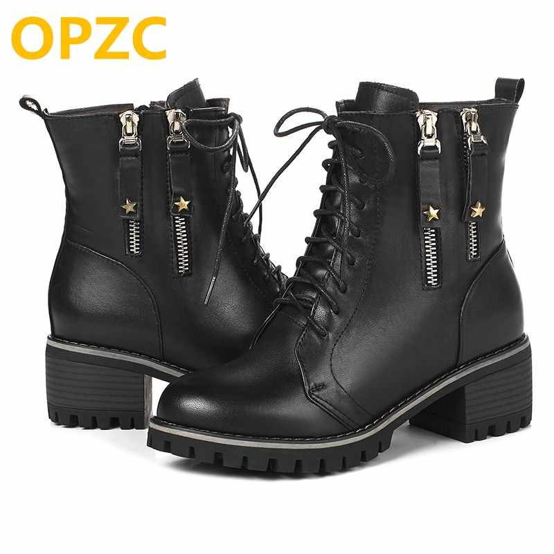ac84a133e ... OPZC/женские военные ботинки, зима 2019, новые женские роскошные  кожаные ботинки, большой ...