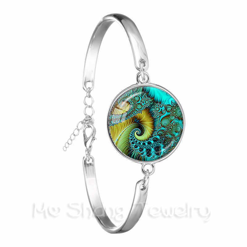 Flor de la vida deslumbrante azul caleidoscopio Mandala para mujer regalo de mujer pulsera de cuero negro de cristal brazalete joyería Bijouterie