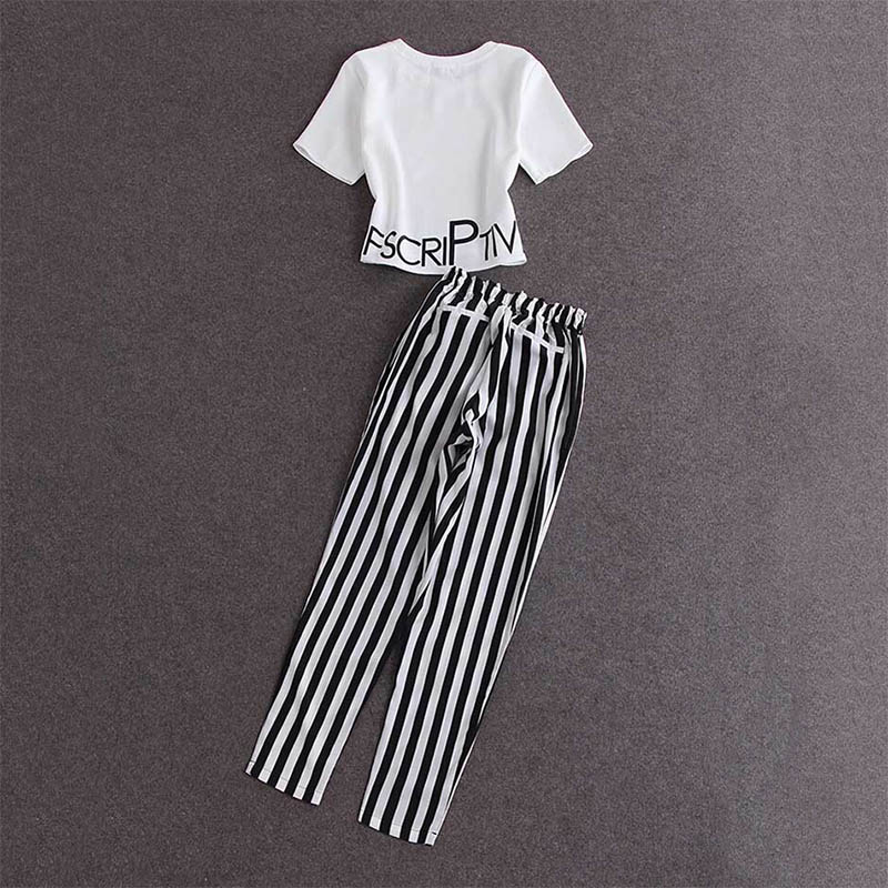 2 Pcs/Set Women Summer Fashion T-Shirts Sets Short Sleeve Letter Print Crop Tops And Striped Elastic Waist Pants Set