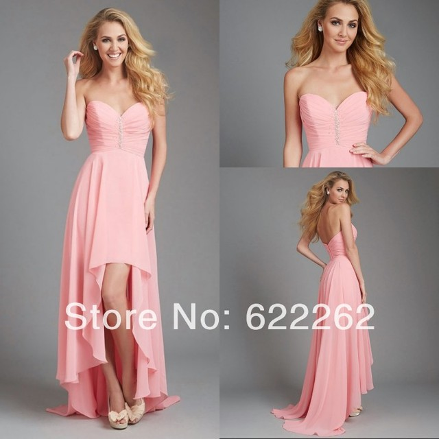 Front short long back a line sweetheart high low bridesmaid dress beaded  pleats low back cheap 87a260210374